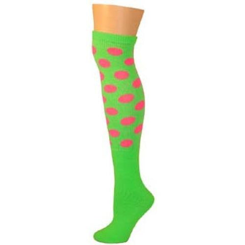 Polka Dot Knee Socks - Lime w/ Pink Dots