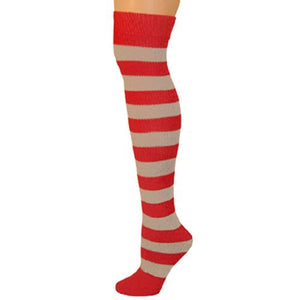 Adults Striped Knee Socks - Red/Gray