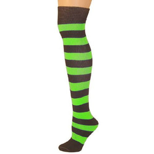 Adults Striped Knee Socks - Black/Lime