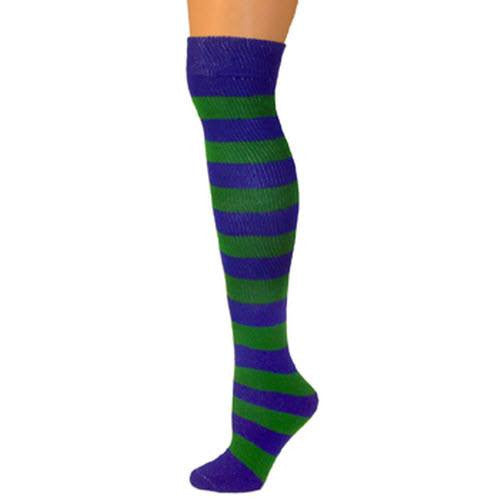 Adults Striped Knee Socks - Blue/Green