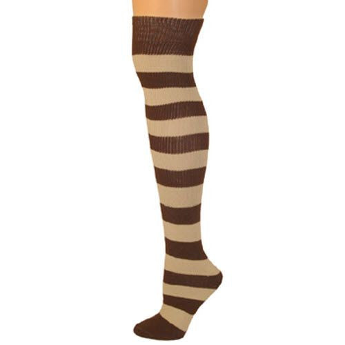 Adults Striped Knee Socks - Brown/Beige