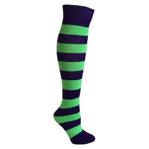 Kids Striped Knee Socks - Purple/Lime Green