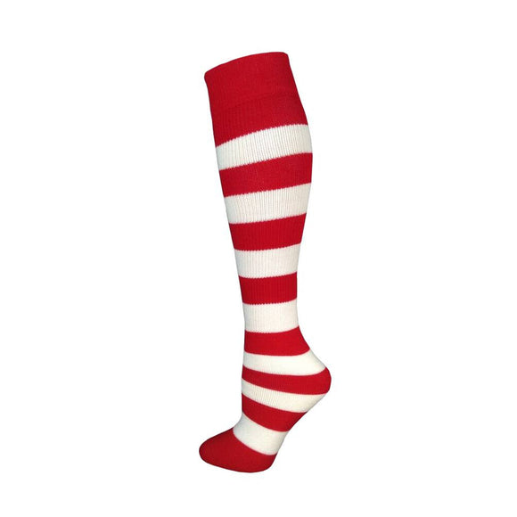 Kids Striped Knee Socks - Red/White