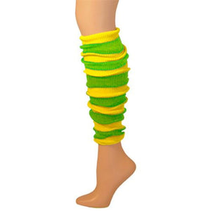 Leg Warmer, Striped (Tube) - Lemon/Lime 22""