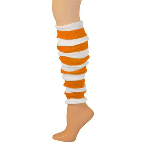 "Striped Leg Warmers - Neon Orange/White (22"")"