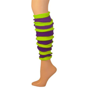 Leg Warmer, Striped (Tube) - Purple/Lime 22""