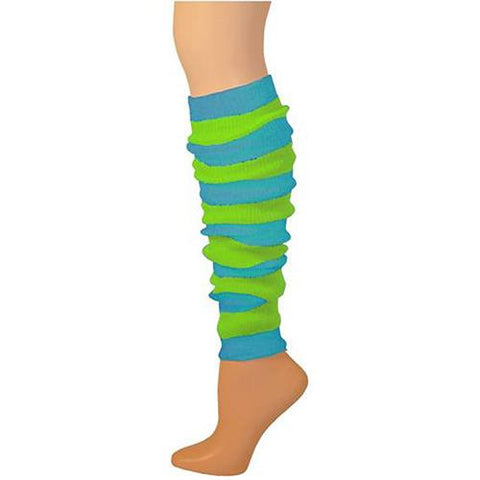 Leg Warmer, Striped - Turquoise/Lime 22""