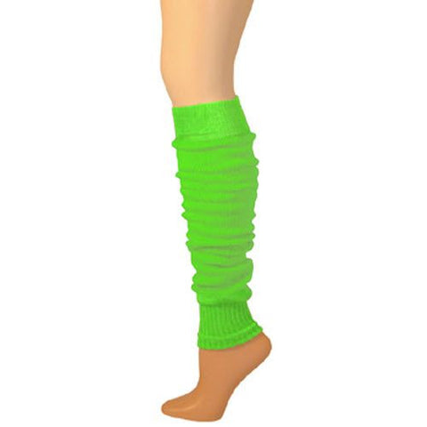 "Leg Warmers, Solid Medium Weight with Welt - Lime (22"")"