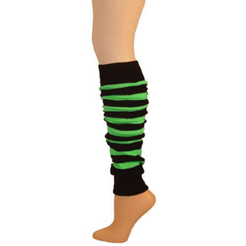 Leg Warmer, Striped w/Welt - Black/Lime 22""