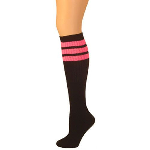 Retro Tube Socks - Black w/ Hot Pink (Knee High)