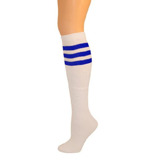 Retro Tube Socks - White w/ Blue (Knee High)
