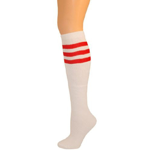 Retro Tube Socks - White w/ Red (Knee High)