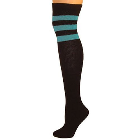 Retro Tube Socks - Black w/ Turquoise (Over Knee)