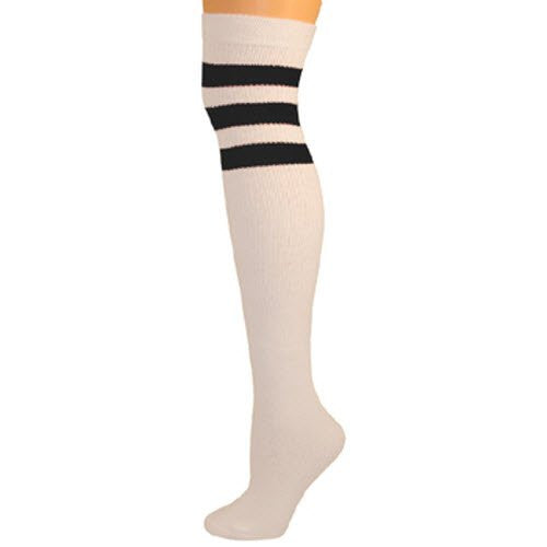 Retro Tube Socks - White w/ Black (Over Knee)