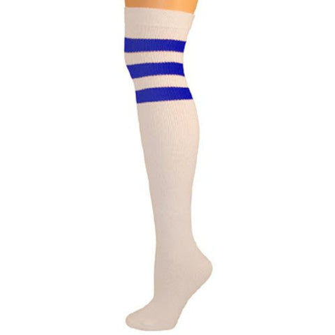 Retro Tube Socks - White w/ Royal Blue (Over Knee)