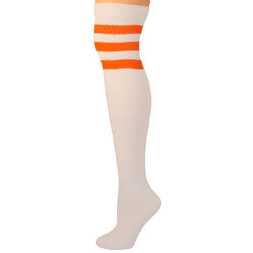 Retro Tube Socks - White w/ Neon Orange (Over Knee)