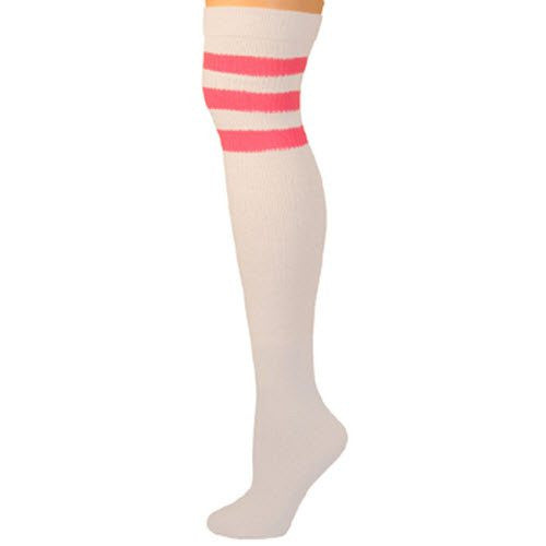Retro Tube Socks - White w/ Hot Pink (Over Knee)