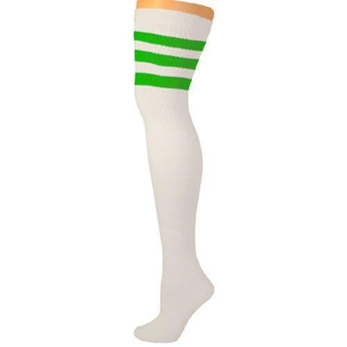 Retro Tube Socks - White w/ Green (Thigh High)