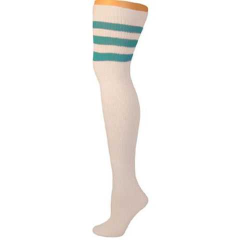 Retro Tube Socks - White w/ Turquoise (Thigh High)