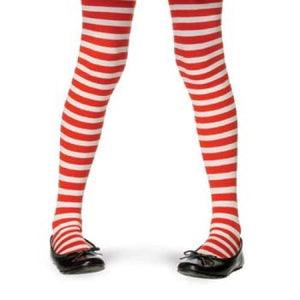 Childrens Striped Tights - White/Red (Large 7 - 10)