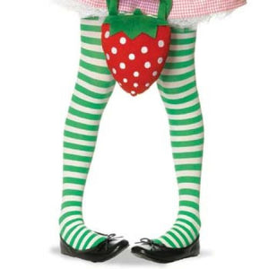 Child's Striped Tights - Green/White (Medium)