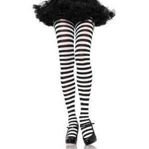Leg Avenue Adult Striped Tights - Black/White (One Size)