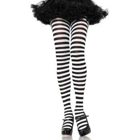 Adult Striped Tights - Black/White