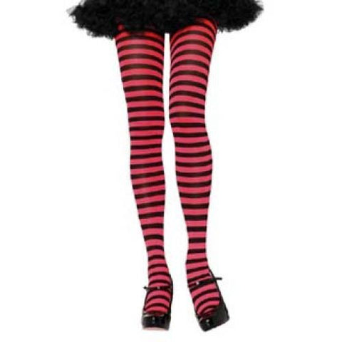 Striped Tights, Adult - Black/Red
