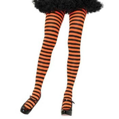 Leg Avenue Adult Striped Tights - Black/Neon Orange (One Size)