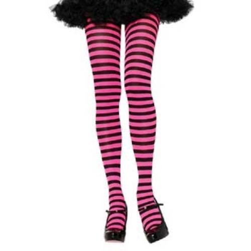 Leg Avenue Adult Striped Tights - Black/Neon Pink (One Size)