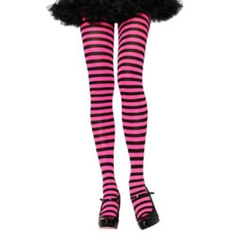 Striped Tights, Adult - Black/Neon Pink
