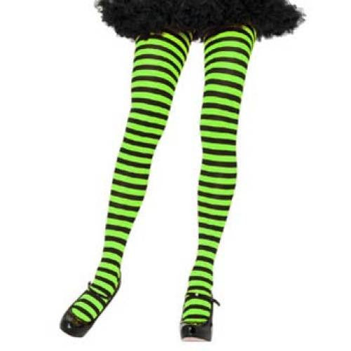 Leg Avenue Adult Striped Tights - Black/Lime Green (One Size)