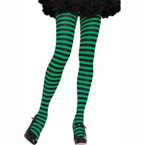 Leg Avenue Adult Striped Tights - Black/Green (One Size)