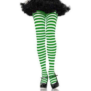 Leg Avenue Adult Striped Tights - White/Green (One Size)