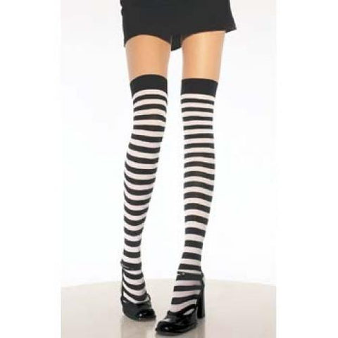Striped Thigh High Socks - Black/White