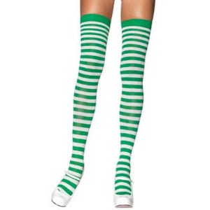 Striped Thigh Highs - White/Green