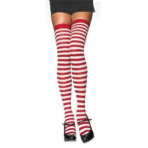 Striped Thigh Highs - White/Red