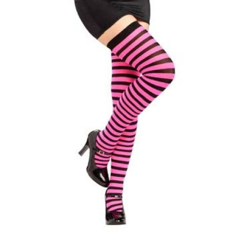 Striped Thigh Highs - Black/Neon Pink