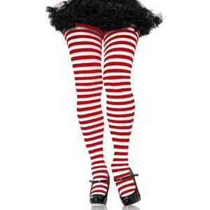 Striped Tights - Red/White (1x-2x)