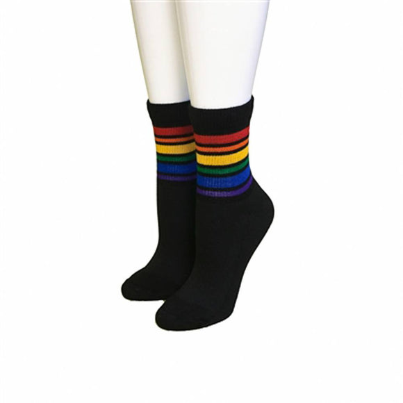 Pride Socks Rainbow Striped Socks  - Large Low Cut (Black)