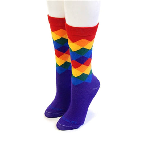 Rainbow Argyle Socks - Men (9-13)