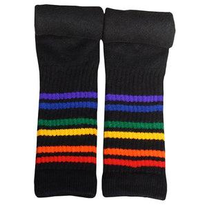 "Rainbow Striped Socks Athletic 19"" Under the Knee (Black)"