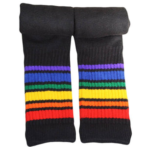 "Rainbow Striped Socks Athletic 22"" Knee High Tube (Black)"