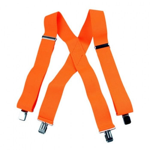 Jumbo Clip Suspenders - Neon Orange  (1.5