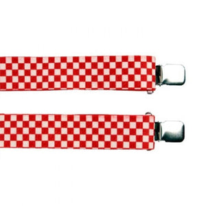 "Jumbo Clip Suspenders - Red and White Checks  (1.5"")"