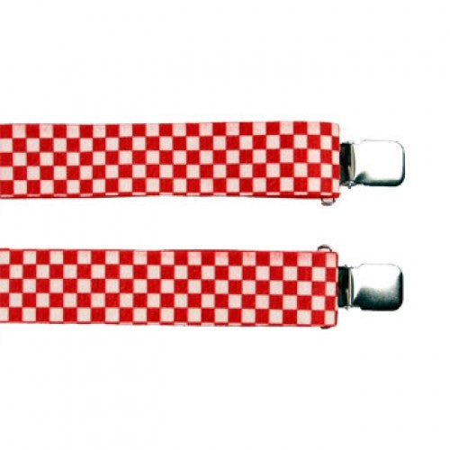 Jumbo Clip Suspenders - Red and White Checks  (1.5