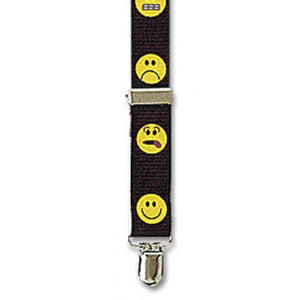 "Smiley Fac Clip Suspenders - Assorted Faces (1"")"