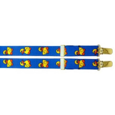 "Light Blue Duckies Clip Suspenders (1"")"