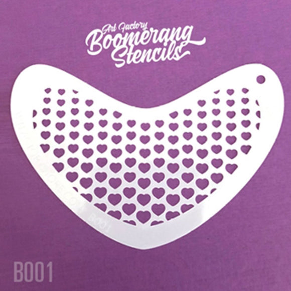 Art Factory Boomerang Face Painting Stencil - Heart Halftone