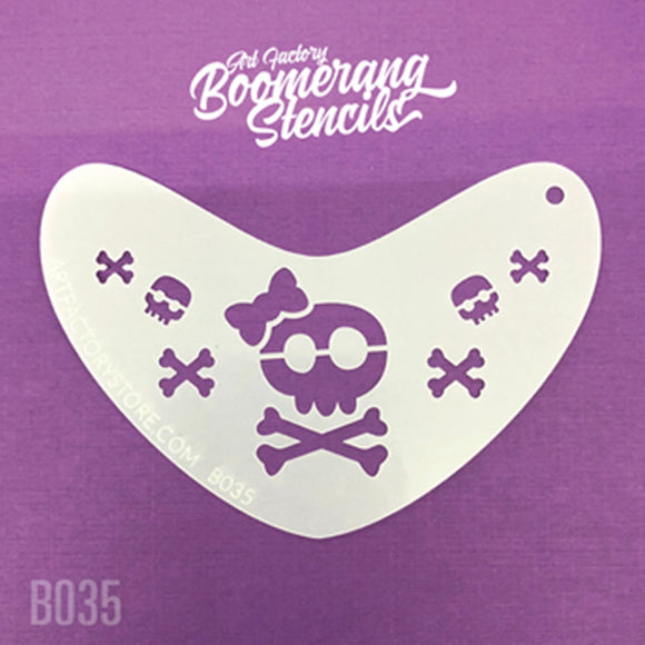 Art Factory Boomerang Stencil - Sugar Skull And Crossbones